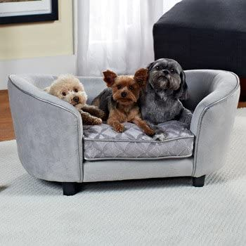 Enchanted Home Pet Quicksilver Pet Sofa Bed, 34 by 3 by 15.5-Inch, Silver