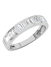 Dazzlingrock Collection 0.60 Carat (ctw) 14K White Gold Princess & Baguette White Diamond Ladies Wedding Band (Size 4.5)