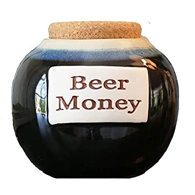 Beer Money Funny Money Bank; Ceramic Jar With Cork Lid, Coin Bank By Tumbleweed
