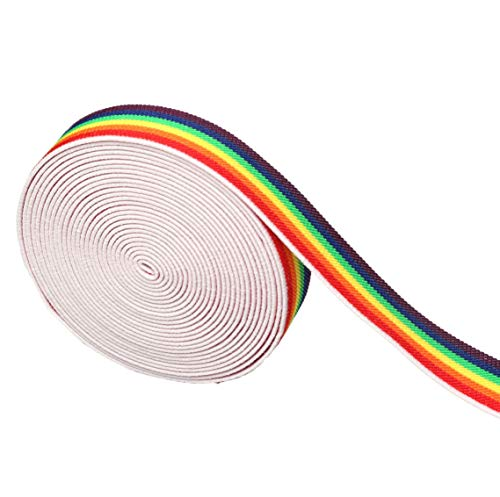 (Supers 1-inch Elastic Band Rainbow Pattern Waistband Colorful Stretchy Sewing Elastic Trimming (5)