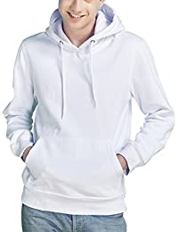 Mens Fleece Hoodie Pullover Solid Color Long Sleeve Sweatshirt With Kangaroo Pocket