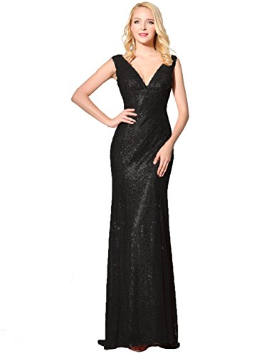 Belle House Black Sequined Formal Party Dresses Full Length Bridal Gowns Long
