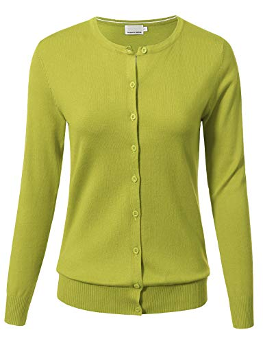 ARC Studio Women Button Down Long Sleeve Crewneck Soft Knit Cardigan Sweater L Lime