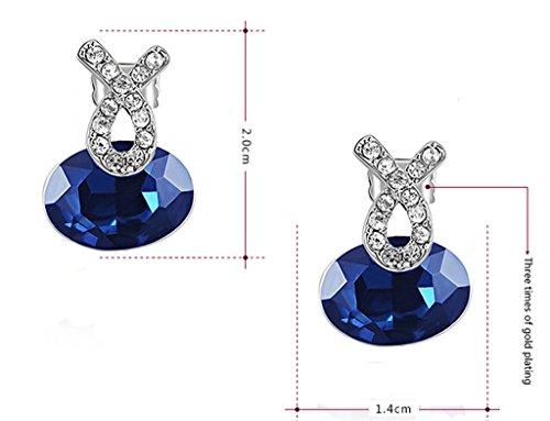 AMDXD Bijoux Plaqué Or Femme Boucles D'oreilles Blanc Ovale Cubic Zirconia 2*1.4cm