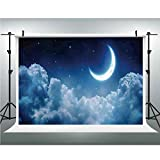 Photo Studio,Fantasy House Decor,Muslin Collapsible Backdrop Background for Photography, Video and Television,6.5x10ft,Romantic Moon in Starry Night Over Clouds Midnight Sky Nature Scenic Picture