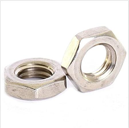 5 pack A2 Edelstahl Fine-Pitch Sechseck Halb Lock Muttern 6 kant d/ünn Mutter M12 x 1mm