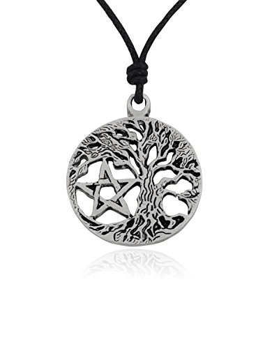 - Tree & Pentagram Star Silver Pewter Charm Necklace Pendant Jewelry