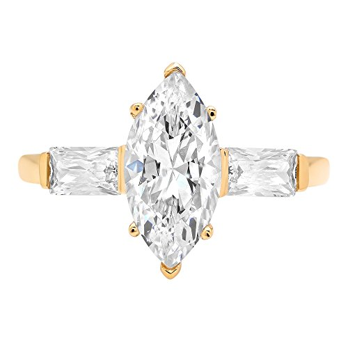 Clara Pucci Three Stone Marquise&Baguette Brilliant Cut Engagement Bridal Wedding Band Ring 14K Yellow Gold, 1.95CT, Size 7 14k Yellow Gold Marquise Band