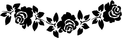 - BEARGRAPHIX Rose Flower Garland Decal Sticker Car Motorcycle Truck Bumper Window Laptop Wall Décor Size- 8 Inch Wide Gloss Silver Color