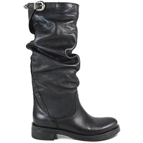 Made Time Arricciati Alti in Biker Nero Nero Vera Donna in In 0285 Pelle Boots Italy Stivali BxRwR