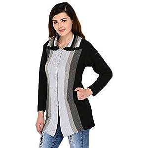 eWools Women Winter Wear Button Cardigan (Double Collar)