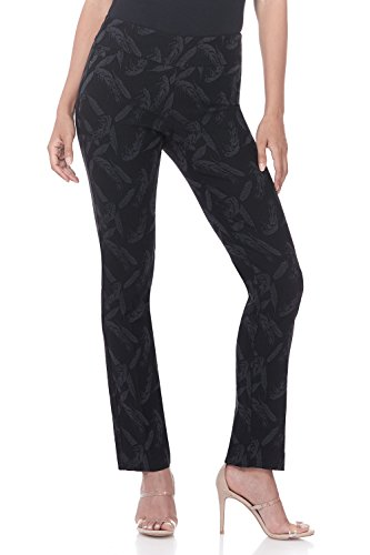 Rekucci Women's Ease in to Comfort Straight Leg Pant with Tummy Control (8,Black/Graphite Flower Jacquard)