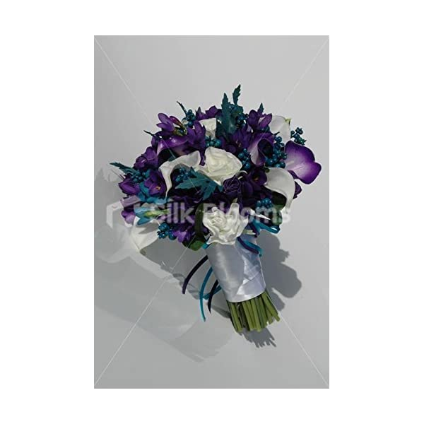 Modern, Teal and Purple Calla Lily & Freesia Bridal Bouquet