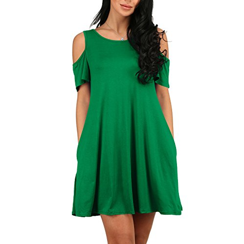 YS.DAMAI Women's Casual Cold Shoulder Tunic Top T-Shirt Swing Dress With Pockets (Small, Green)