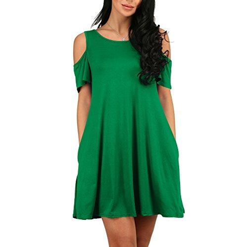 YS.DAMAI Women's Casual Cold Shoulder Tunic Top T-Shirt Swing Dress With Pockets (Small, Green)