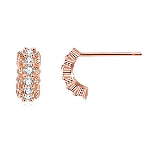(YFN rose gold Shining earrings,sterling silver Hoop Earrings for women(Cubic Zirconia ))
