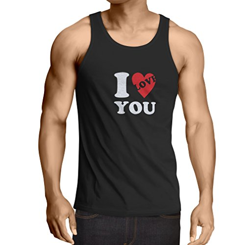 lepni.me Men's Tank Top I Love You! - St Valentine's Day Outfit, Great Gift Ideas (XXXXX-Large Black White) ()