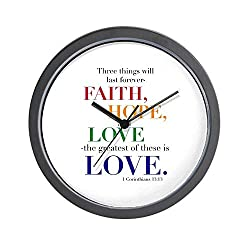 CafePress Faith, Hope, Love, The Greatest of These is Love W Unique Decorative 10 Wall Clock