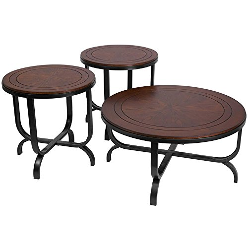 - Ashley Furniture Signature Design - Ferlin Circular Occasional Table Set - Contains Cocktail Table & 2 End Tables - Contemporary - Dark Brown