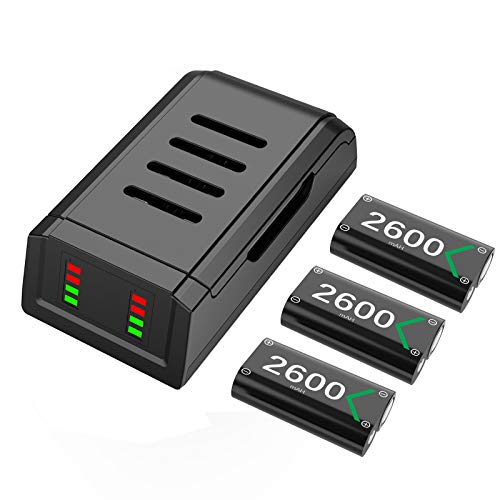 Battery Pack for Xbox One Series X S Controller , iWOWnfit Charging Station Dock with 3x2600mAh Rechargeable Batteries Pack for Xbox Series X|S, Xbox One/Xbox One S/Xbox One X/Xbox One Elite