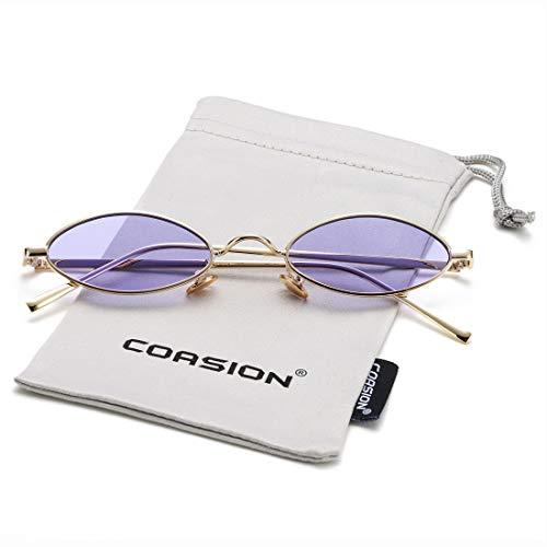 Vintage Small Oval Sunglasses for Women Men Hippie Cool Metal Frame Sun Glasses (Gold Frame/Purple Lens) (Frame Purple Lens)