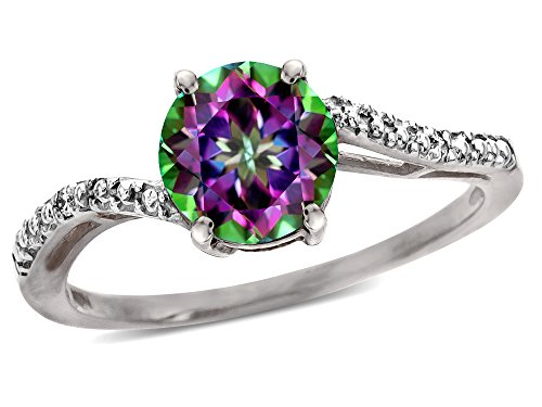 (Star K Round 7mm Rainbow Mystic Topaz Bypass engagement promise solitaire ring 10 kt White Gold Size 5)