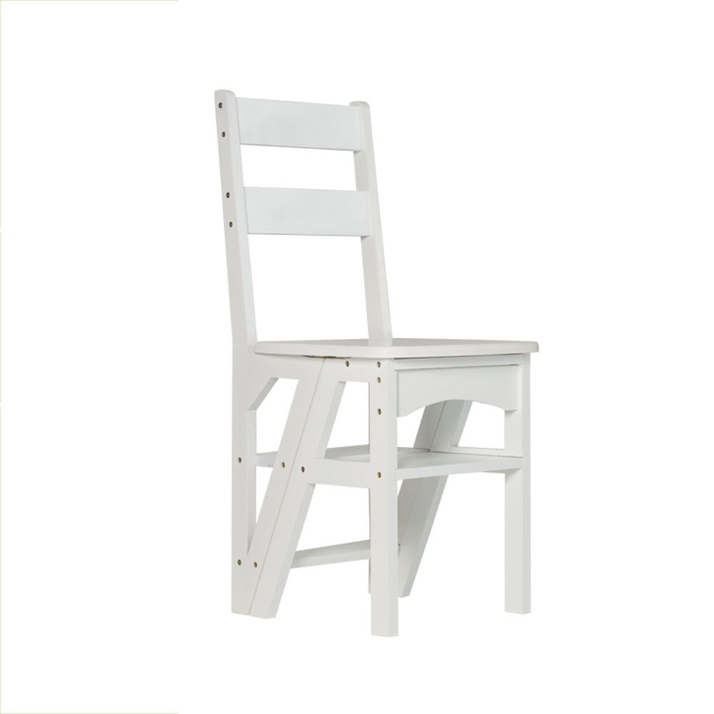 Folding solid wood ladder stool / indoor four-step staircase / multi-function staircase stool ( Color : A )