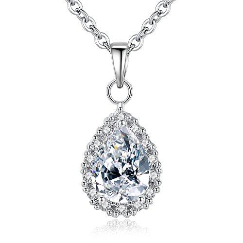 Drop Teardrop Necklace - Teardrop Drop Pendant Necklace for Women Girl Sterling Silver Plated Zircon Fashion Jewelry Gift