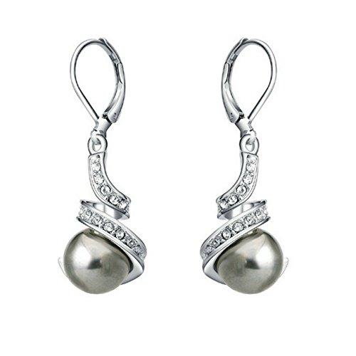 (Yoursfs Lmitation Pearls Crystal Rhinestone Dangles Bridal Earrings for Women (gray pearl earring))