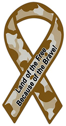 Ribbon Shaped Military Magnet - Land of the free, because of the brave! - Support Army, Navy, Air Force, ()