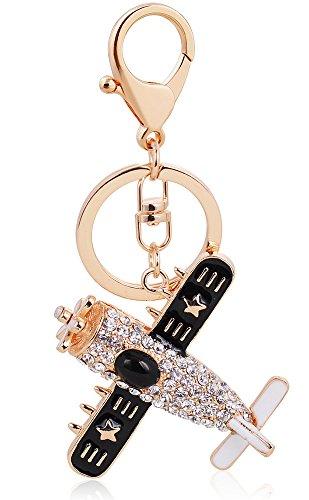 BeeChamp Crystal Rhinestone Inlay Alloy Metal Airplane Jet Model Keychain Handbag Charm Cellphone Pendant Key Tag