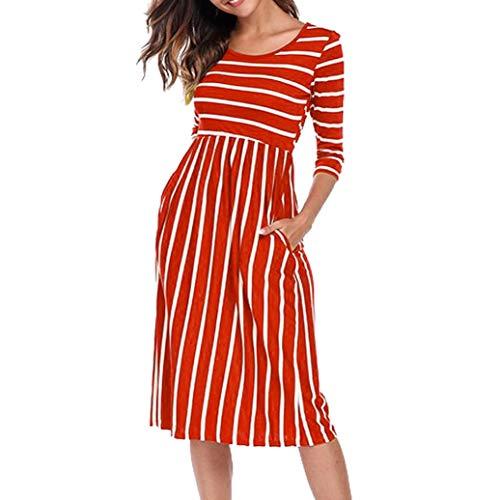 5ff1f2c7589 Poche Rayée Femme Rond Col Mini À Points Robe Orange Mode Manches Bovake De  Sept Casual Robe Rwvdxffqz