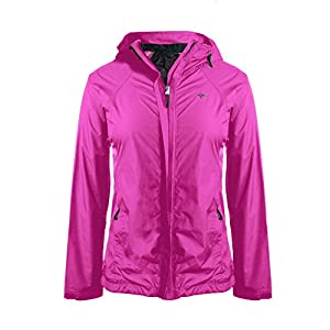 Cheetah Ladies Ripstop Jacket and Pant Rain Suit Set with Adjustable Hood Berry Size Extra Small