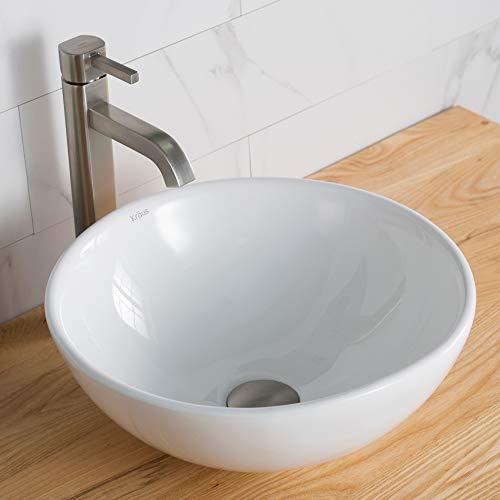 Kraus C-KCV-141-1007SN White Round Ceramic Sink and Ramus Faucet Satin Nickel (Satin Sn Porcelain Nickel)