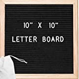 Felt Letter Board - Premium Oak 10x10 Black Felt | Changeable Letter Board | 340 White Letters including Emoji, Symbols, and Punctuation (Black)