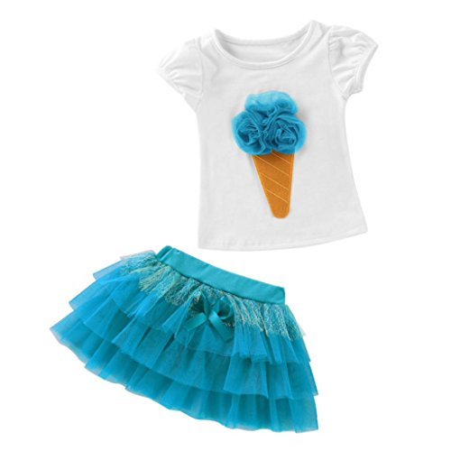 G-real Little Girls Kids Cute 3D Ice Cream T-Shirt Tops+Bow Tulle Skirt Summer Outfits For 1-6T (Blue, - D&g Kids