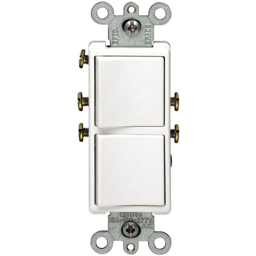 Leviton R62-05634-00W 15 Amp White Decora Dual Switch - Leviton Single Gang Duplex