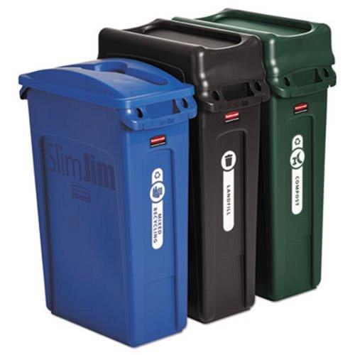 23 gal. SlimJim Waste Bin Trash Can Plastic Receptacle Bundle (3-pack)