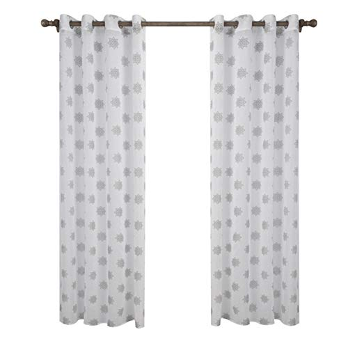 (ZMYLOVE Snowflake Curtain,Blackout Curtains Eyelet Thermal Insulated Window Curtains Super Soft Printed Livingroom Kids Room Bedroom Curtains (2 Panels) White,width120x260cmhigh)