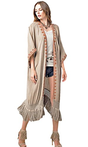 Easel Clothing Athens Oversized Embroidered Fringe Trim Washed Cardigan In Latte - Athens Store Department