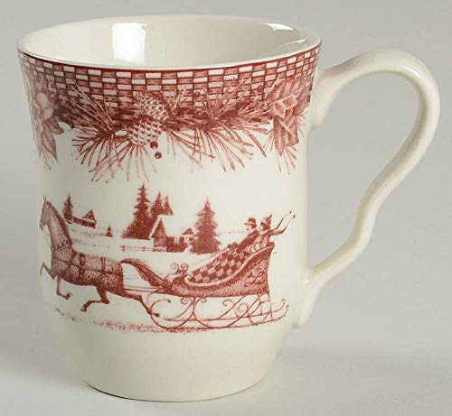 222 Fifth Poinsettia Toile Coffee Mugs - Set of 4 ()