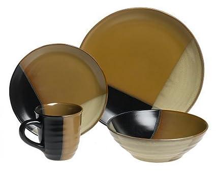 Amazon.com: Sango Gold Dust Black 16-Piece Dinnerware Set, Service ...
