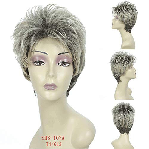 This Is An Upgraded Wig,Kinky Straight Short Hair Wigs With Bangs Natural Blonde Synthetic Wig For Women High Temperature Fiber 3 Models,Multi Color,8Inches -