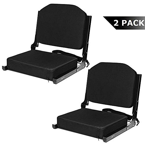 Jauntis Stadium Seats for Bleachers - Bleacher Seats with Ultra-Padded Comfy Foam Backs and Cushion, Wide Portable Stadium Chairs with Back Support and Shoulder Strap