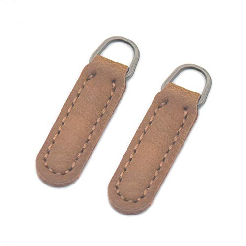 Fujiyuan 20 Pcs Leather Zip Tags Pull 39mmx10mm PU Faux Lmitation for Boot Jacket Bag Purse Clothes Zipper Pulls Replacement Instant Kit Brown