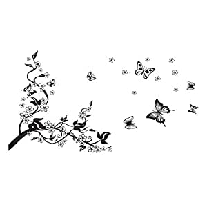 Removable DIY Black Nursery Flowers Vine and Beautiful Butterfly Wall Corner Decals Wall Sticker Murals Home Art Decor