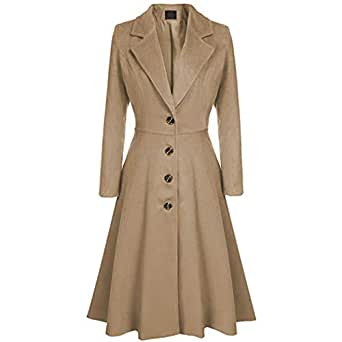 Amazon.com: Quanii Women Wool Trench Pea Coat Turn-Down