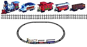 Classic Battery Operated Train Set With Tracks Light Engine Children Kids Toy 35 Pieces Over 666cm Orbit Circumference 20 Feet Track