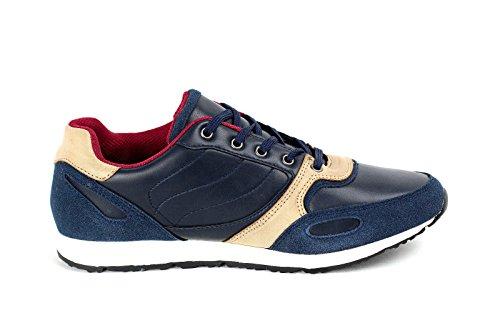 Hombres Con Cordones Zapatillas De Piel Informal Footing Zapatos Para Andar Diseñador Gym Nuevo Talla Azul Marino