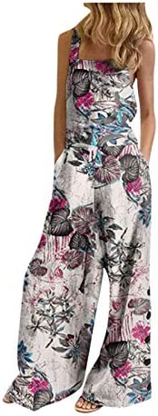 Women Floral Jumpsuit with Pockets Summer Sleeveless Wide Leg Long Pant Comfy Romper